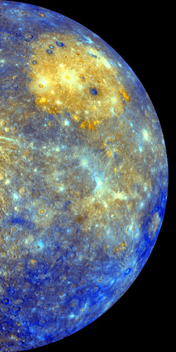 Color mosaic of the eastern limb of Mercury as seen by MESSENGER