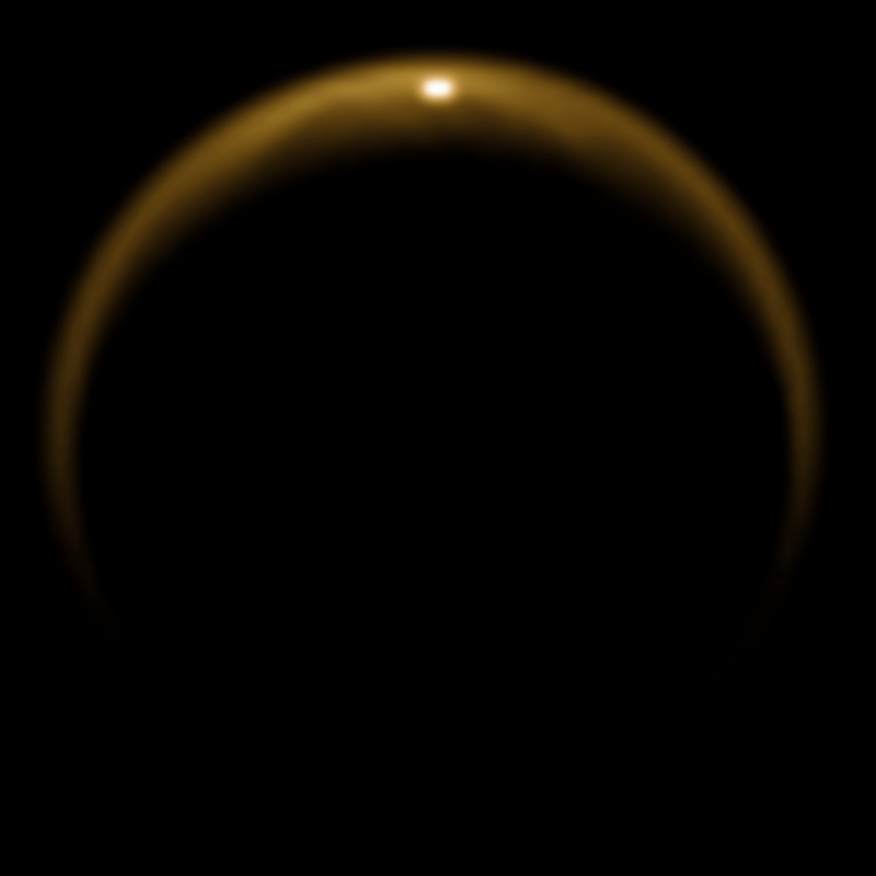 This image shows the first flash of sunlight reflected off a lake on Saturn's moon Titan.