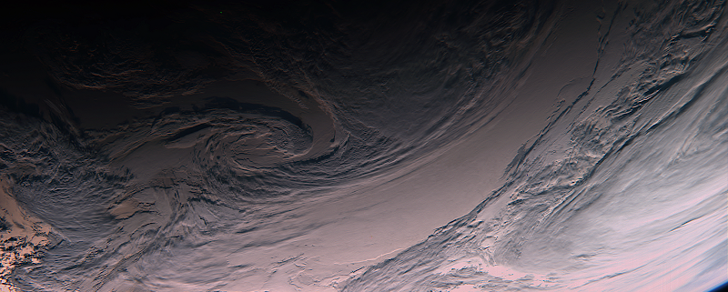 Cloud structures over the South Pacific, seen with the OSIRIS Imaging System's narrow-angle camera.