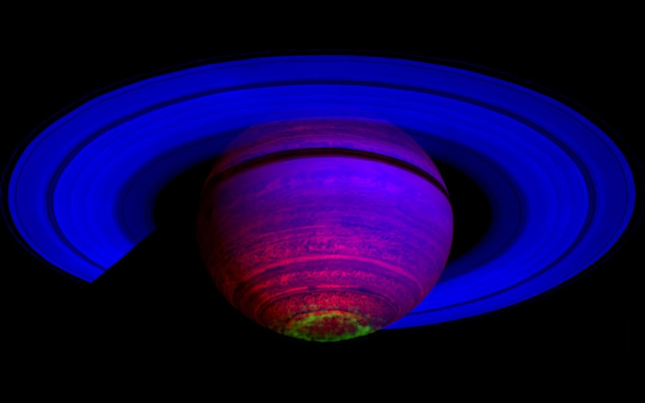 Cassini false-color composite of Saturn