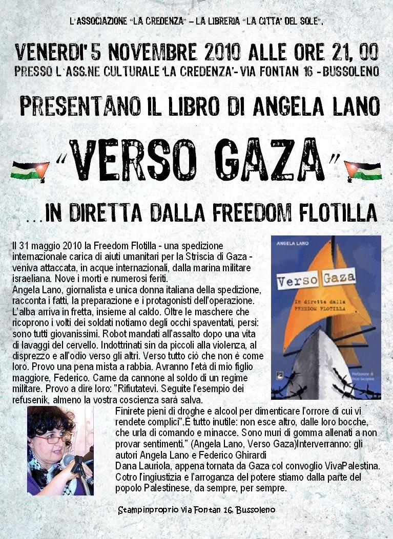 presentazione del libro di Angela Lano: Verso Gaza. In diretta dalla Freedom Flotilla