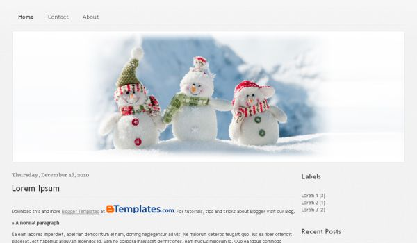Free Snow Christmas Blue Blogger Template