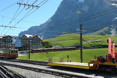 Red Cogwheel trains at the station of Kleine Scheidegg