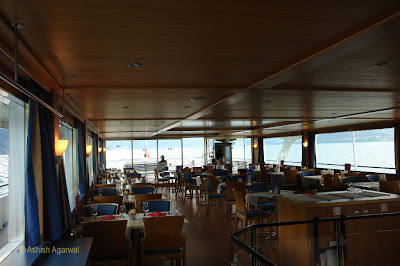The cafe of the cruise ship on Lake Thun