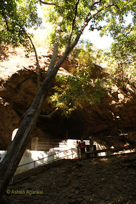 View of the entrance to the main cave of the Bada Mahadev complex in Pachmarhi