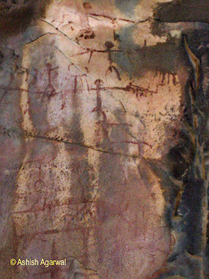 Rock paintings of humans as stick figures in Bhimbetka, Madhya Pradesh, India