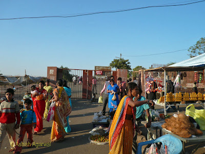 Crowd at the gate of the Shiva temple at Bhojpur in Madhya Pradesh