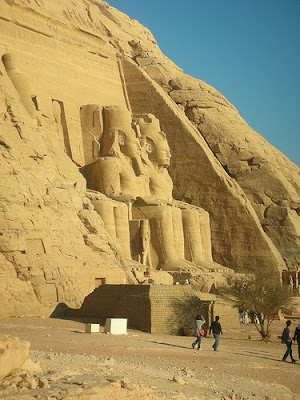 View of the statues of Ramesses II at Abu Simbel
