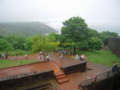 Entrance to Aguada fort along with view of Arabian sea in Goa