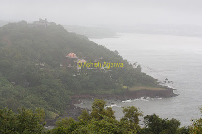 View of green countryside next to Aguada Fort in Goa along with the Arabian Sea