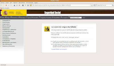 Error de certificado en la página de la Seguridad Social