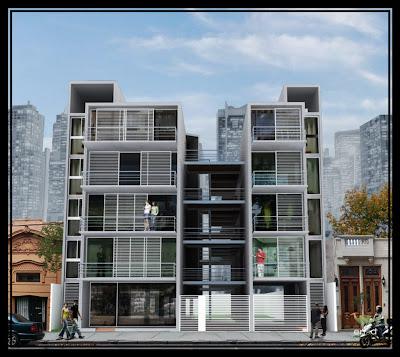 Edificio de viviendas fachada diurna nocturna for Fachadas de viviendas