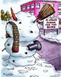 Funny Christmas Card Blind School Snowman