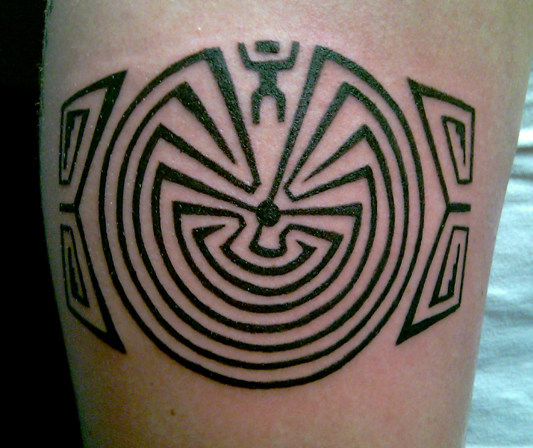 Tattoo; Native American, Man in the Maze, Maze of Life, Indian Design