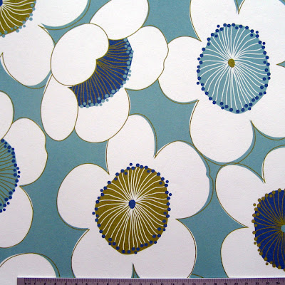 Kimono Flowers on blue - Patterned Paper
