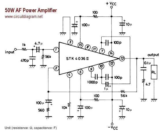 50w af power amplifier with stk4036ii schematic circuit