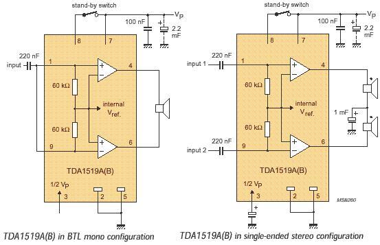 6 Watt Audio Amplifier Schematic Circuit with TDA1519