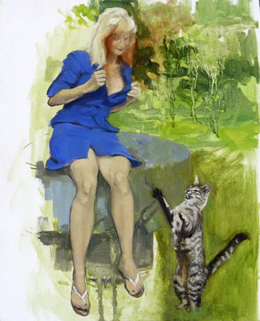 Cécile et le chat 41 x 33 cm