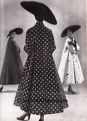 1949, traina-norell, polka dot swing coat, richard avedon, john frederics hats