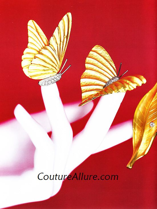 Marlene Stowe 18K gold, platinum and diamond butterfly and leaf pins