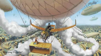 Digital fantasy steampunk illustration