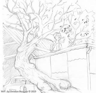 Boy eating mulberries pencil sketch