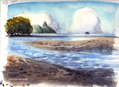 Australian watercolour painting of Nudgee beach reserve