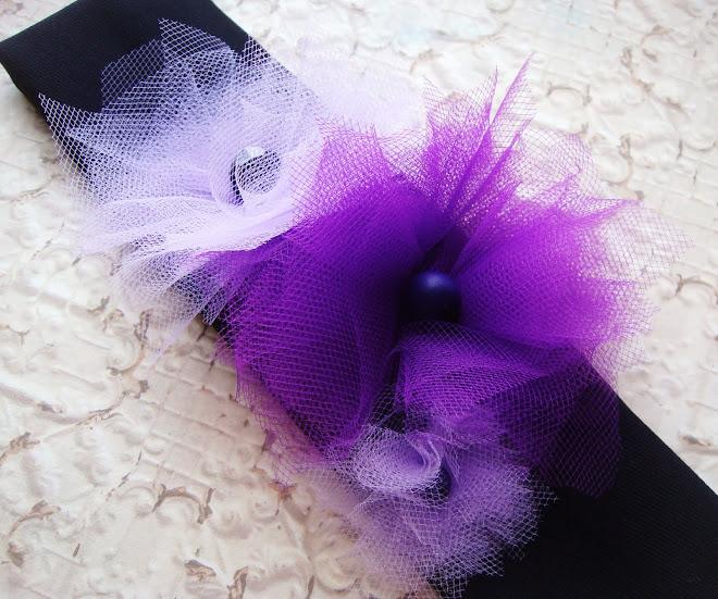 banda negra-morado flores de tul