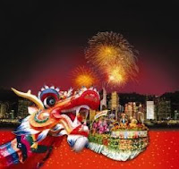 colorful firework card for chinese new year