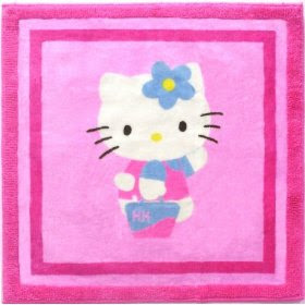 Cute HELLO KITTY Pink Mod Shopper Area Rug