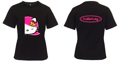 Hello Kitty Charming Pink Lady Black T-shirt