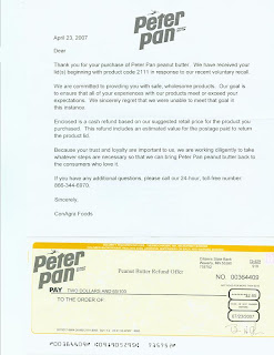 refund check to buy peanutbutter from conagra
