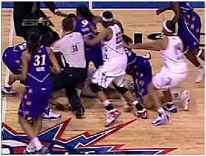 fight in wnba basketball game