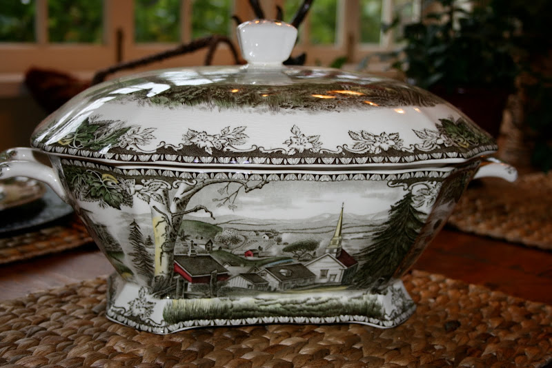 The beautiful soup tureen with it\u0027s many scenes from the Friendly Village. & vignette design: Friendly Village Tablescape