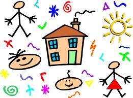 cartoon of schoolhouse with kids around