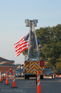 September 11: Memorial Walk, Fire Truck with US Flag
