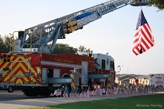 September 11: Memorial Walk, Universal City Fire Truck with US Flag