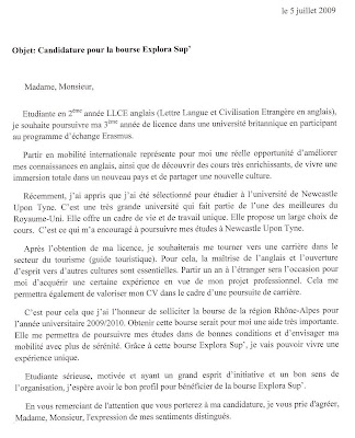exemple lettre de motivation demande de bourse Justine in NCL: Candidature pour la bourse Explora Sup' exemple lettre de motivation demande de bourse