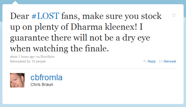Tweet from LOST's assistant editor Chris Braun
