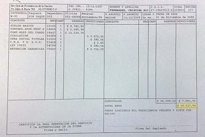 El recibo de sueldo de Cristina Fernandez de Kirchner