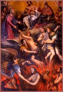 Cuadro en el que se representa a unos ángeles sacando almas del purgatorio