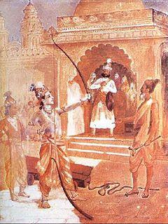 Rama mematahkan busur Dewa Siwa saat sayembara memperebutkan Dewi Sita