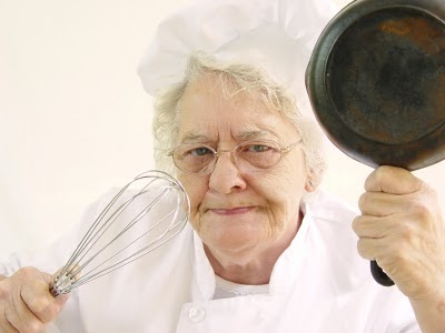 old lady frying pan