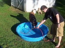 Ben fills the pool