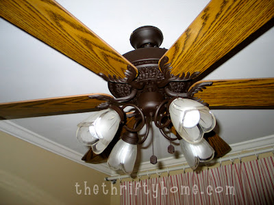 the thrifty home spray painting a ceiling fan and clock. Black Bedroom Furniture Sets. Home Design Ideas