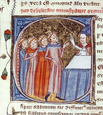 Monks, disfigured by the plague, being blessed by a priest. England, 1360–75