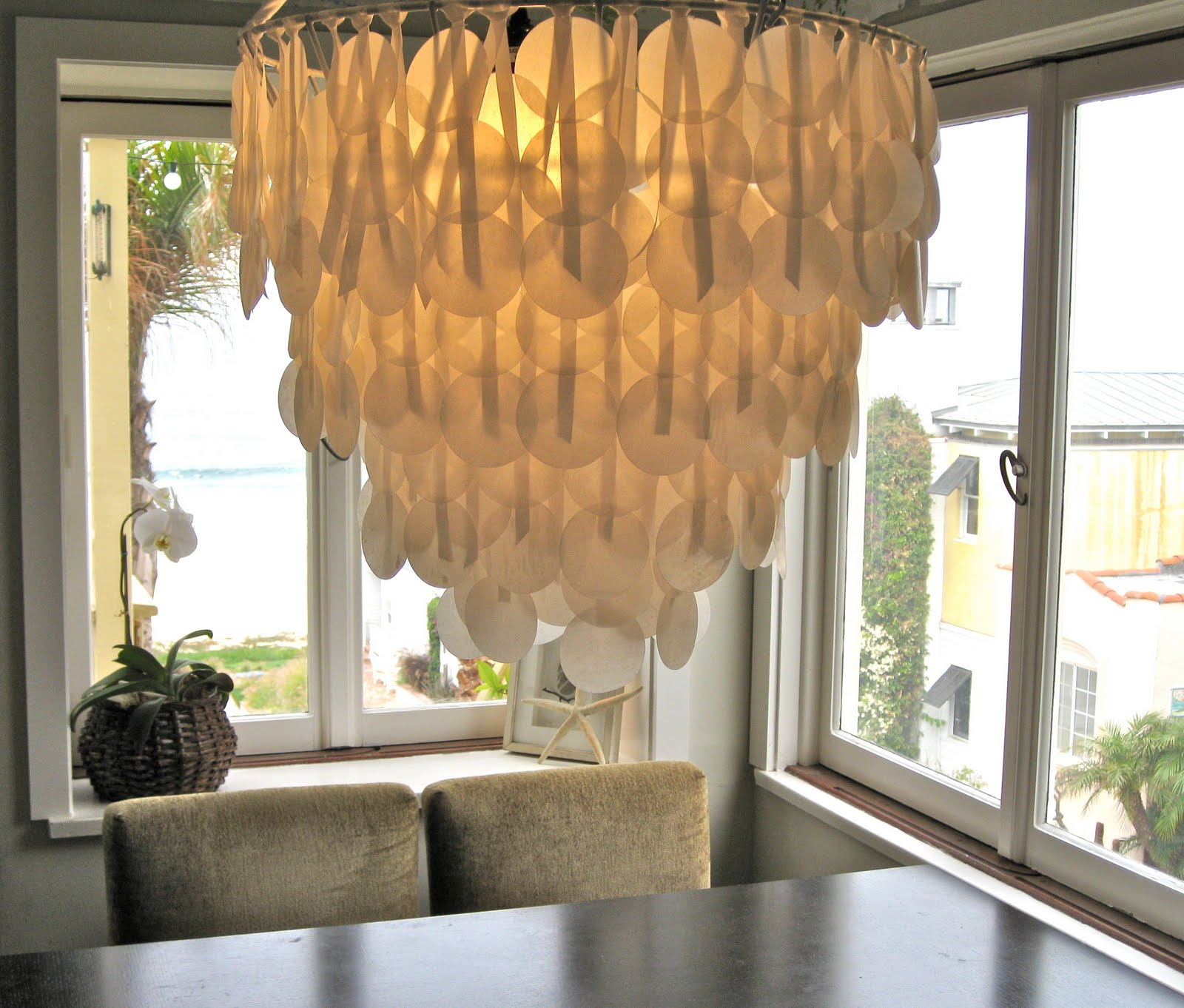 paper & ink paper capiz shell chandelier on design sponge