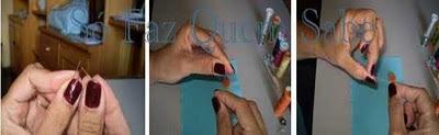 Colocando linha na agulha para pregar botões.