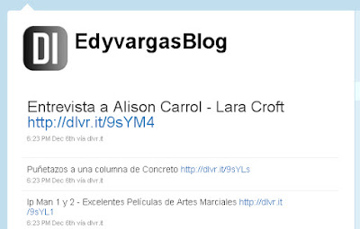 EdyvargasBlog en Twitter, usando Dlvr.it, excelente herramienta para Bloggers