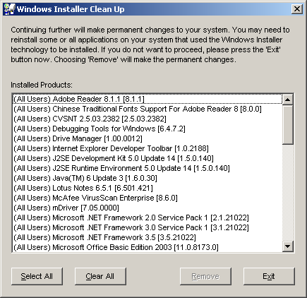 how to run windows installer cleanup utility